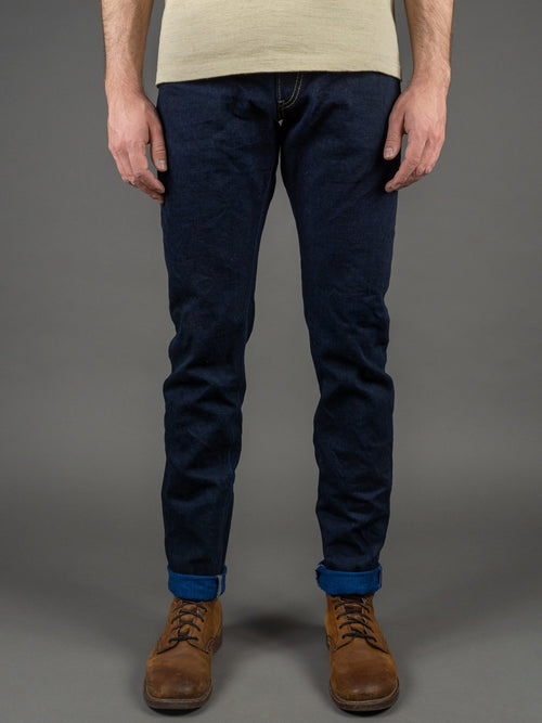 "Tanuki YUHT Natural Indigo ""Yurai"" High Tapered Jeans front"