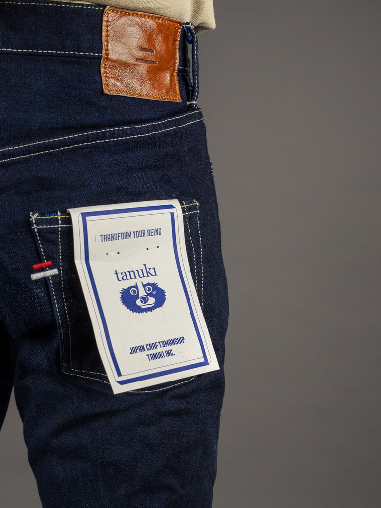"Tanuki YUHT Natural Indigo ""Yurai"" High Tapered Jeans back pocket"