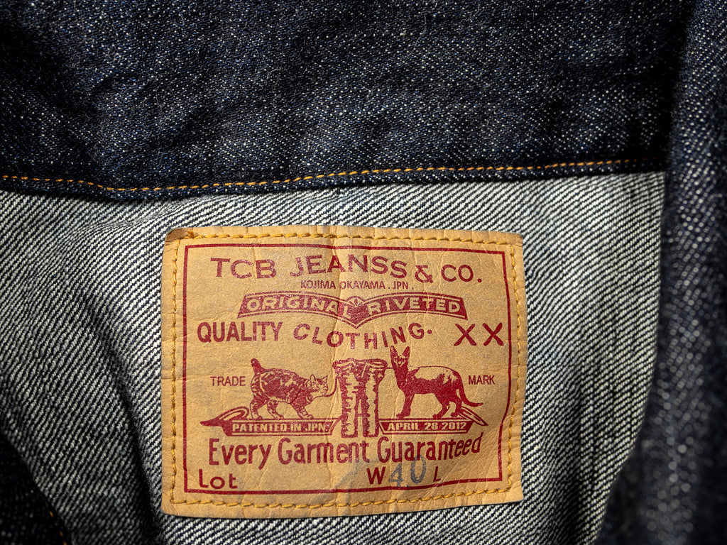 tcb japanese denim jacket paper patch levis inspired