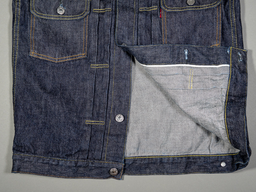 tcb 50 levis inspired type 2 selvedge denim jacket interior