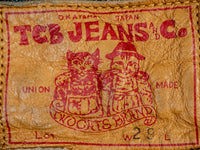 leather patch of TCB Slim 50´s japanese denim