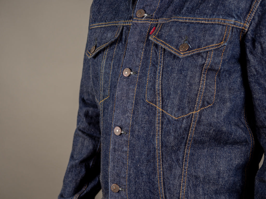 tcb 60´s type 3 trucker selvedge japanese denim jacket chest pockets