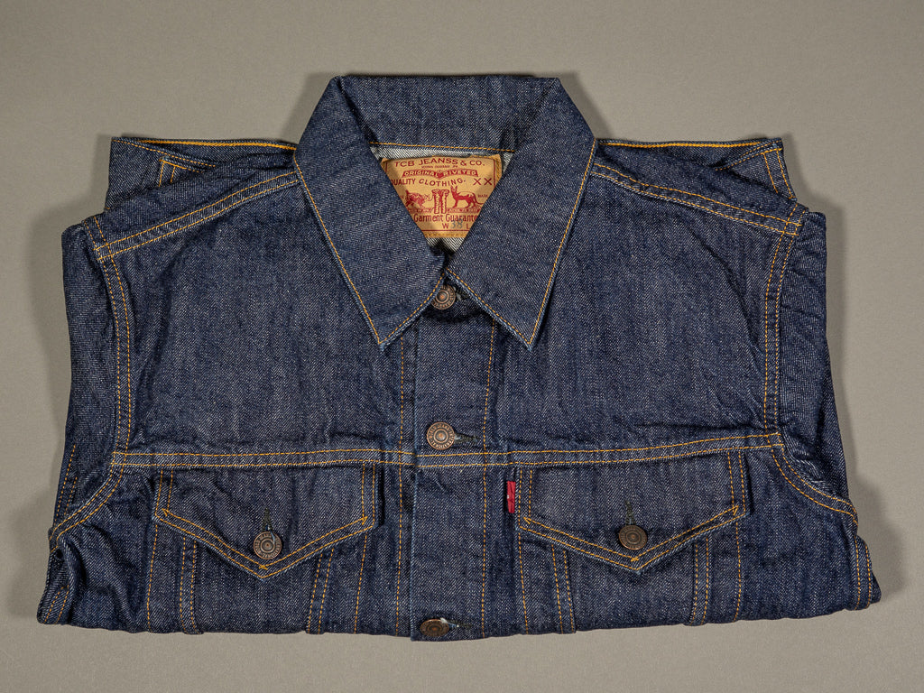 tcb 60´s type 3 trucker selvedge japanese denim jacket folded