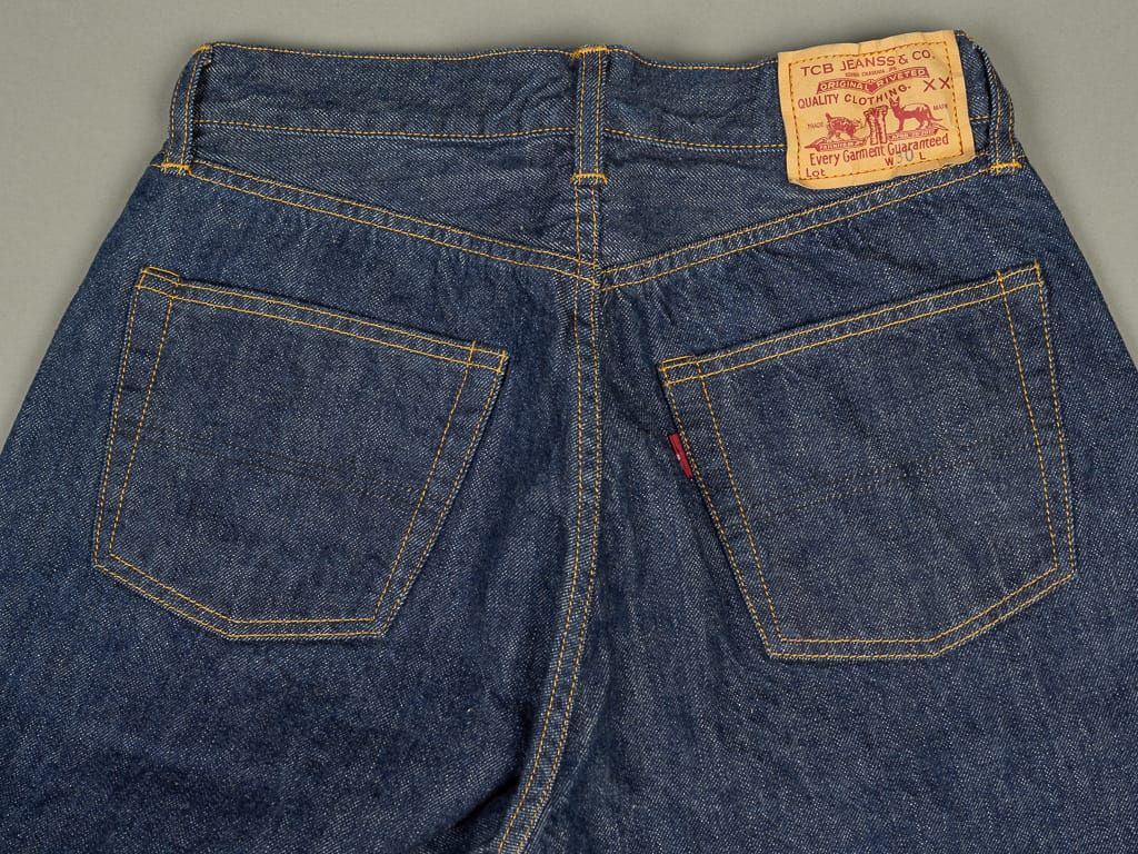 back pockets of TCB 60´s japanese denim Jeans
