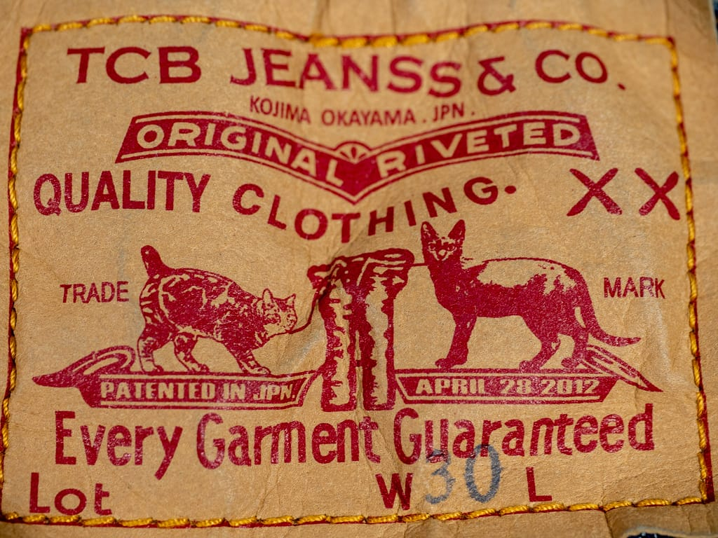 paper patch of TCB 60´s japanese denim Jeans