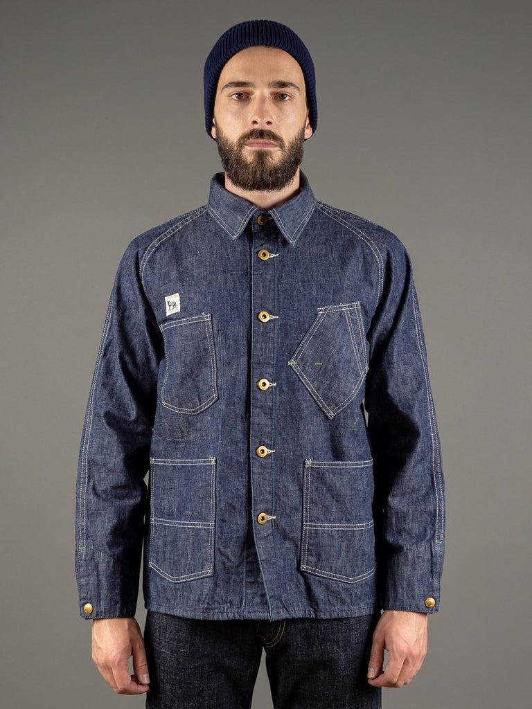 tcb black cat denim vintage workwear jacket front