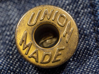 copper gold union made button of tcb black cat denim jacket