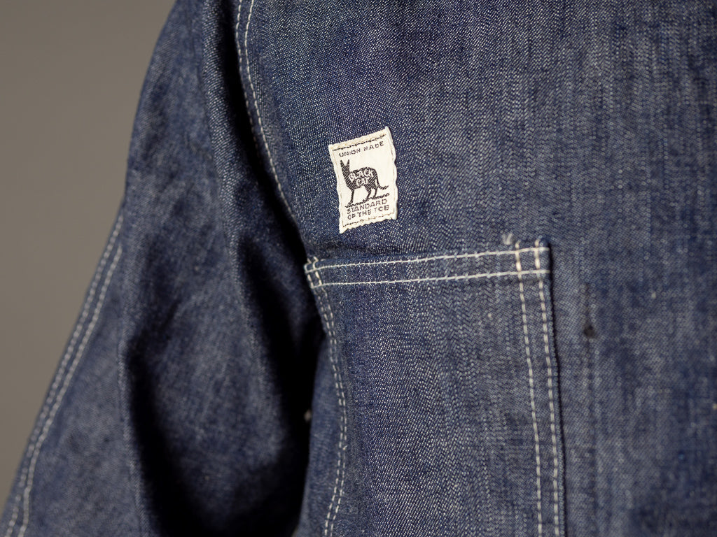 tcb jeans label of tcb black cat denim vintage workwear jacket