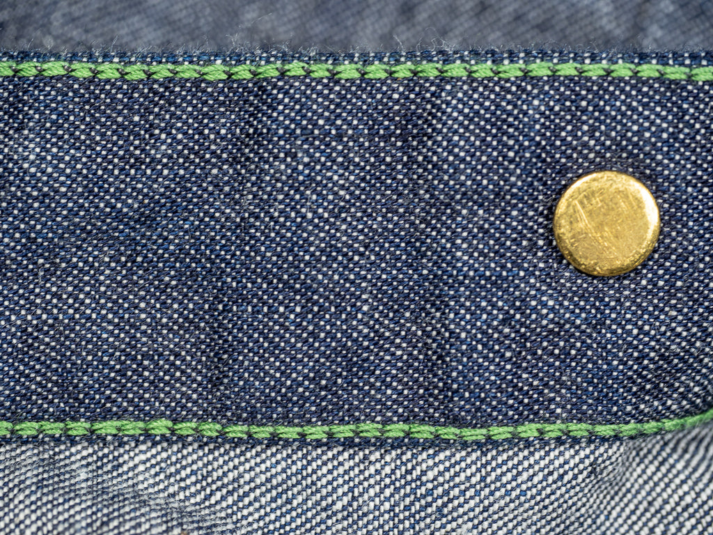 inside seams of tcb black cat denim workwear jacket