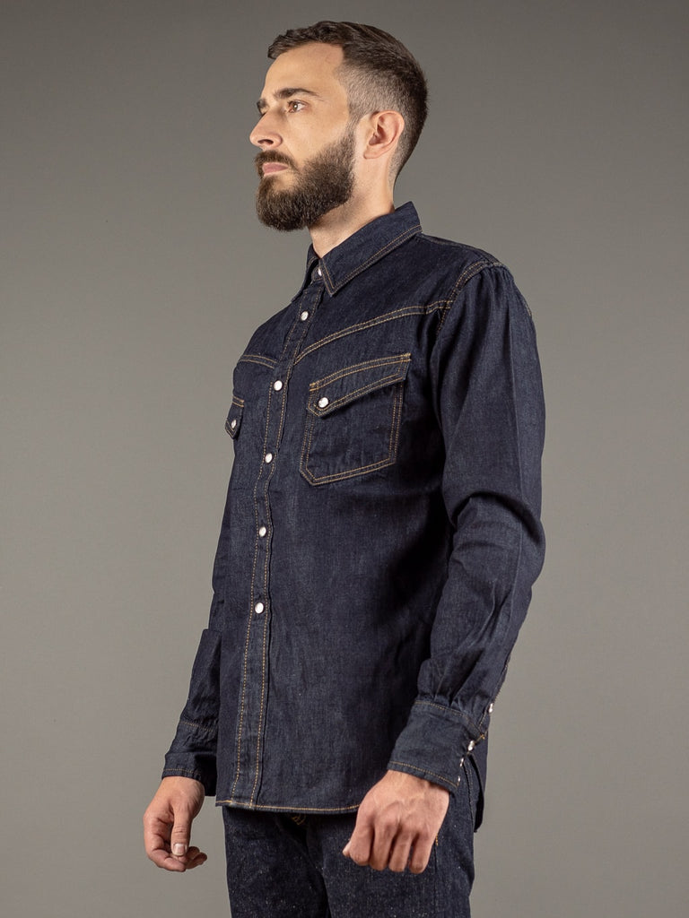 tcb ranchman western japanese denim shirt side