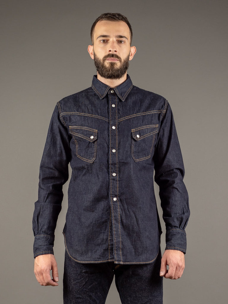 tcb ranchman western japanese denim shirt front