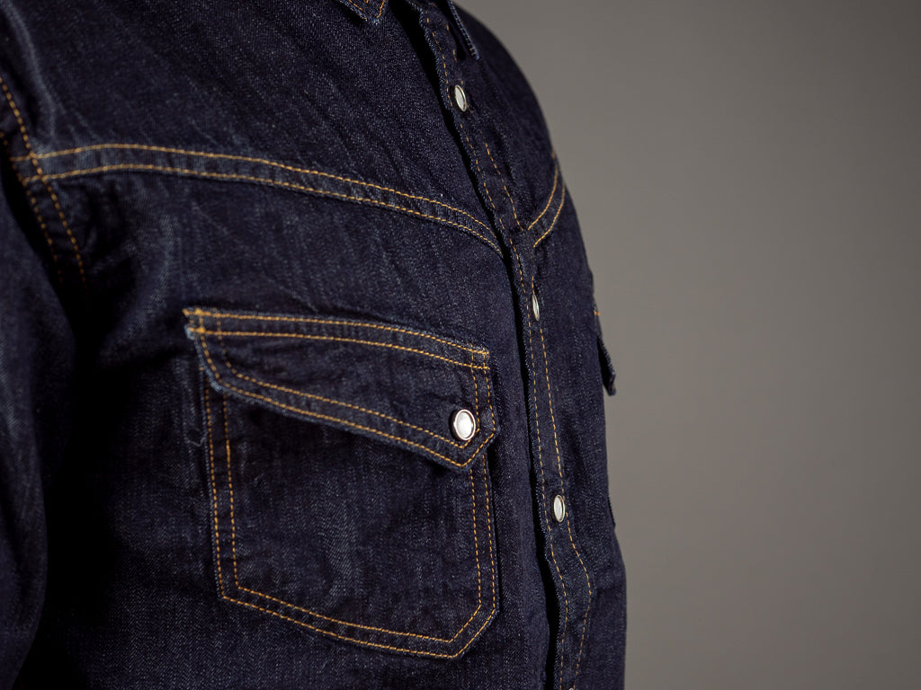tcb ranchman western japanese denim shirt pocket
