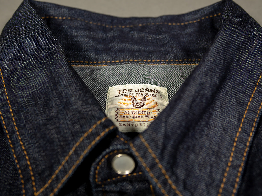 western collar of tcb ranchman japanese selvedge denim shirt