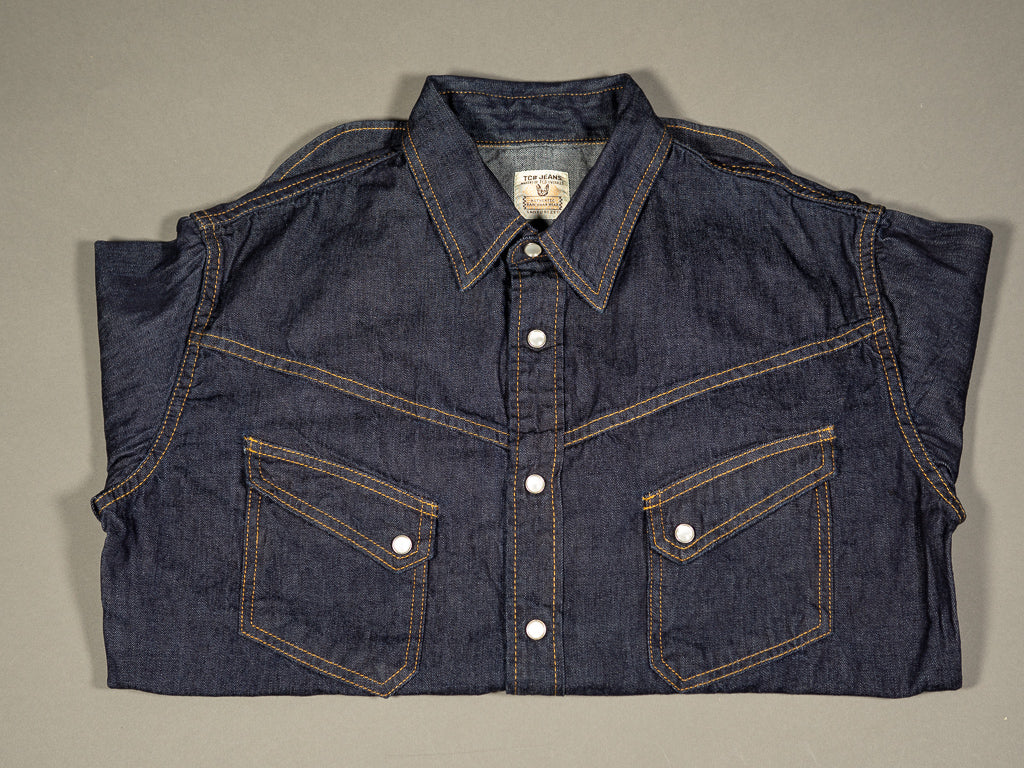 tcb ranchman western japanese denim shirt folded