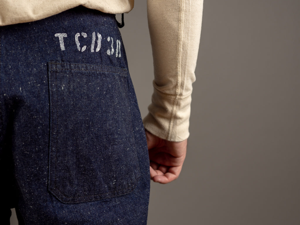 tcb usn seamens vintage navy inspired trousers hand stencilled