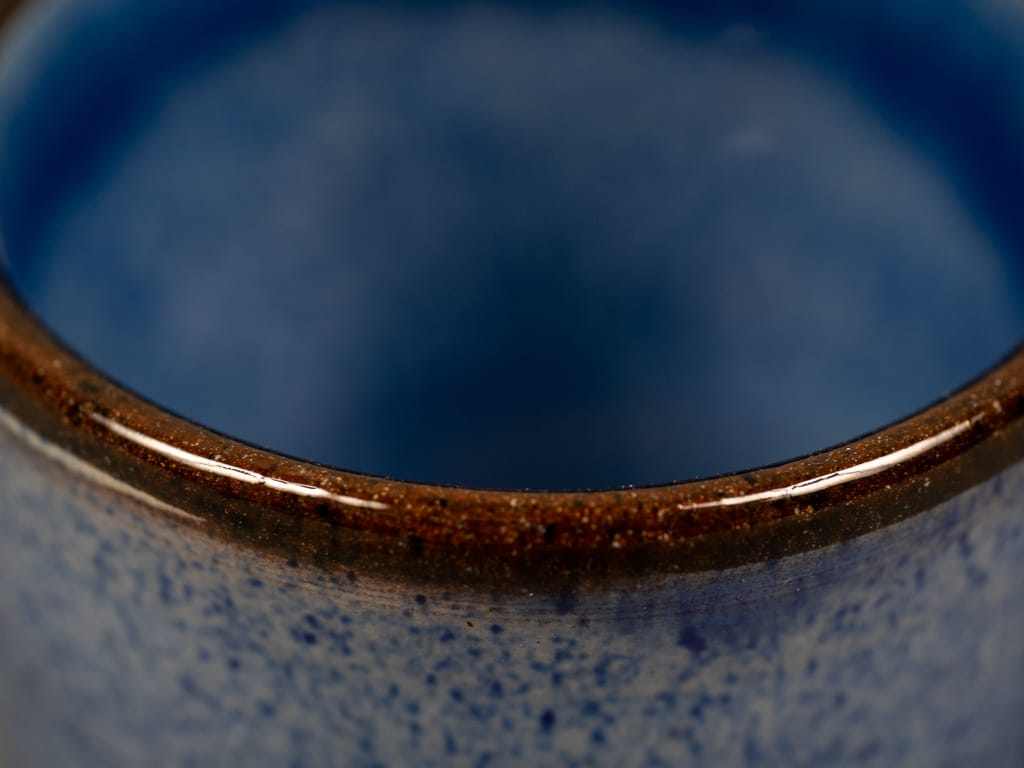 Tender espresso cup blue glazed edge