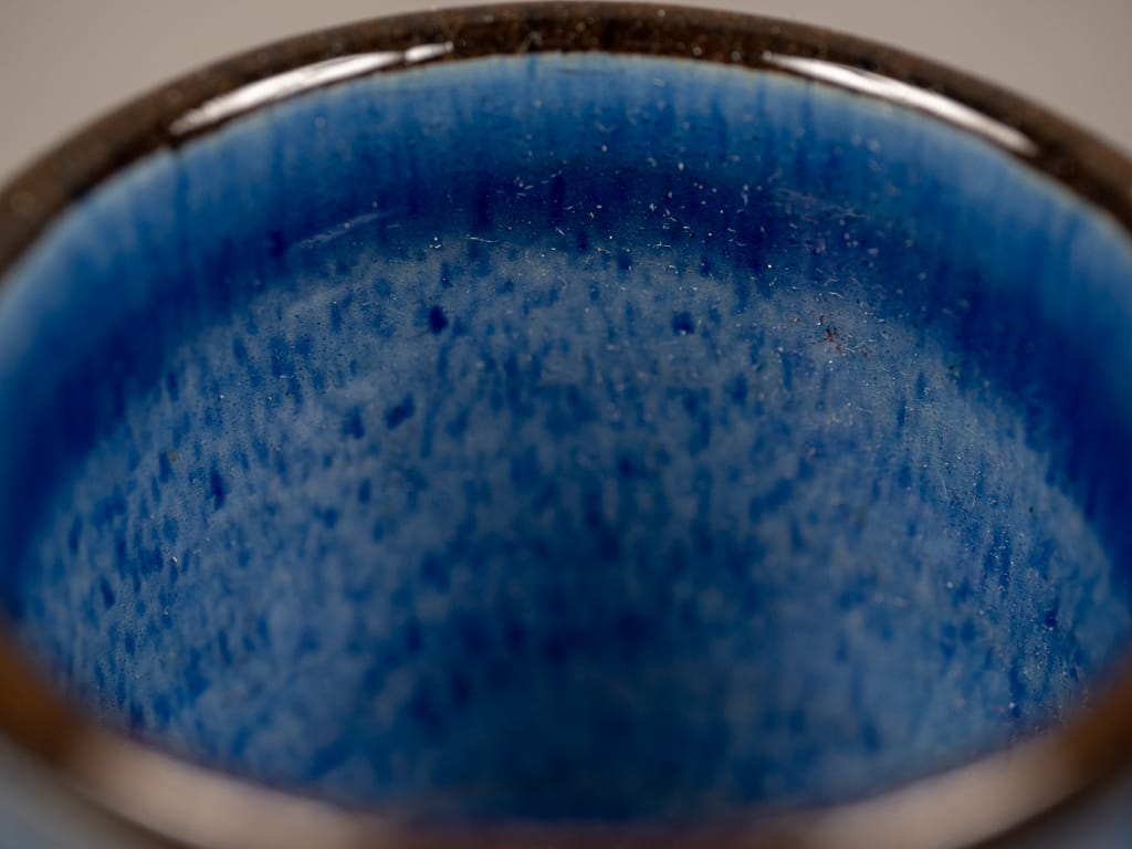 Tender espresso cup blue glazed detail