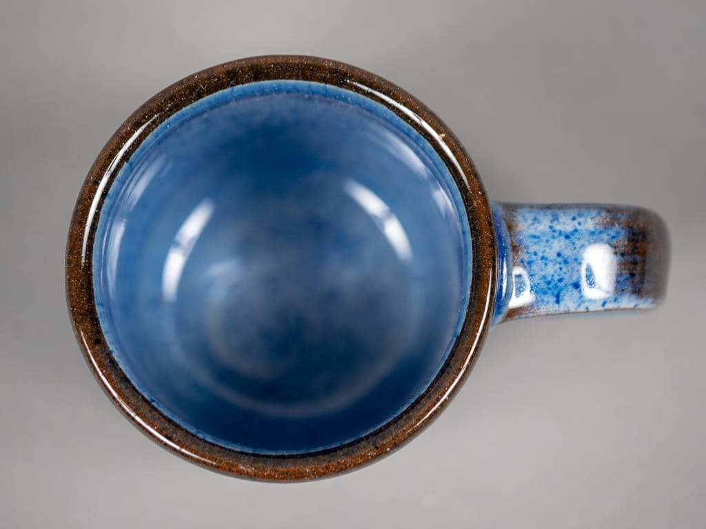 Tender espresso cup blue glazed interior