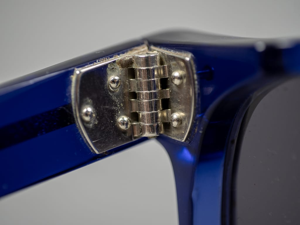 Tender Bluebottle Slimmer Flat Top Sunglasses interior detail