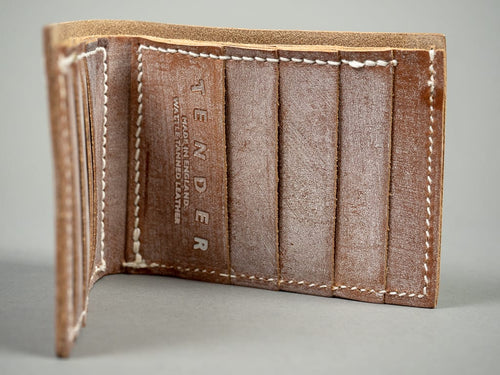 Tender Long Wallet Natural Tan Wattle Leather card slots