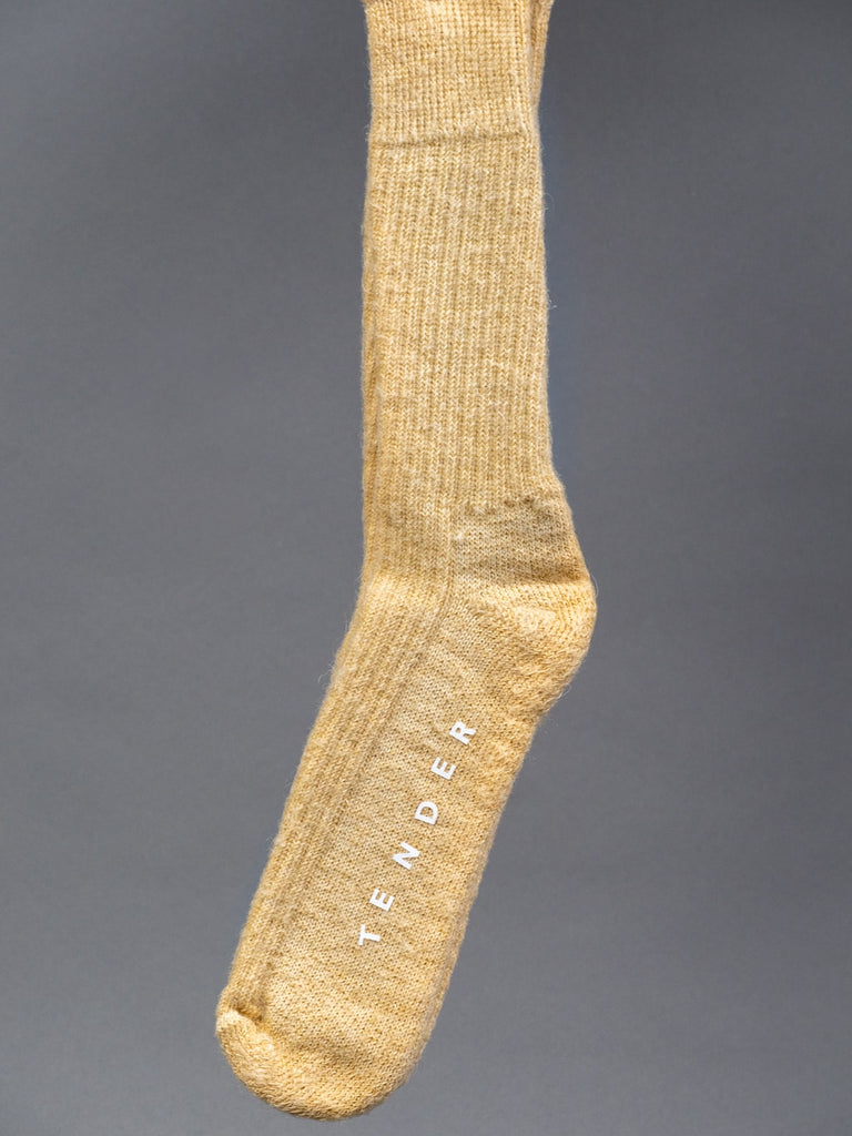 Tender Rib Calf Socks Mohair Iron Rust Dyed