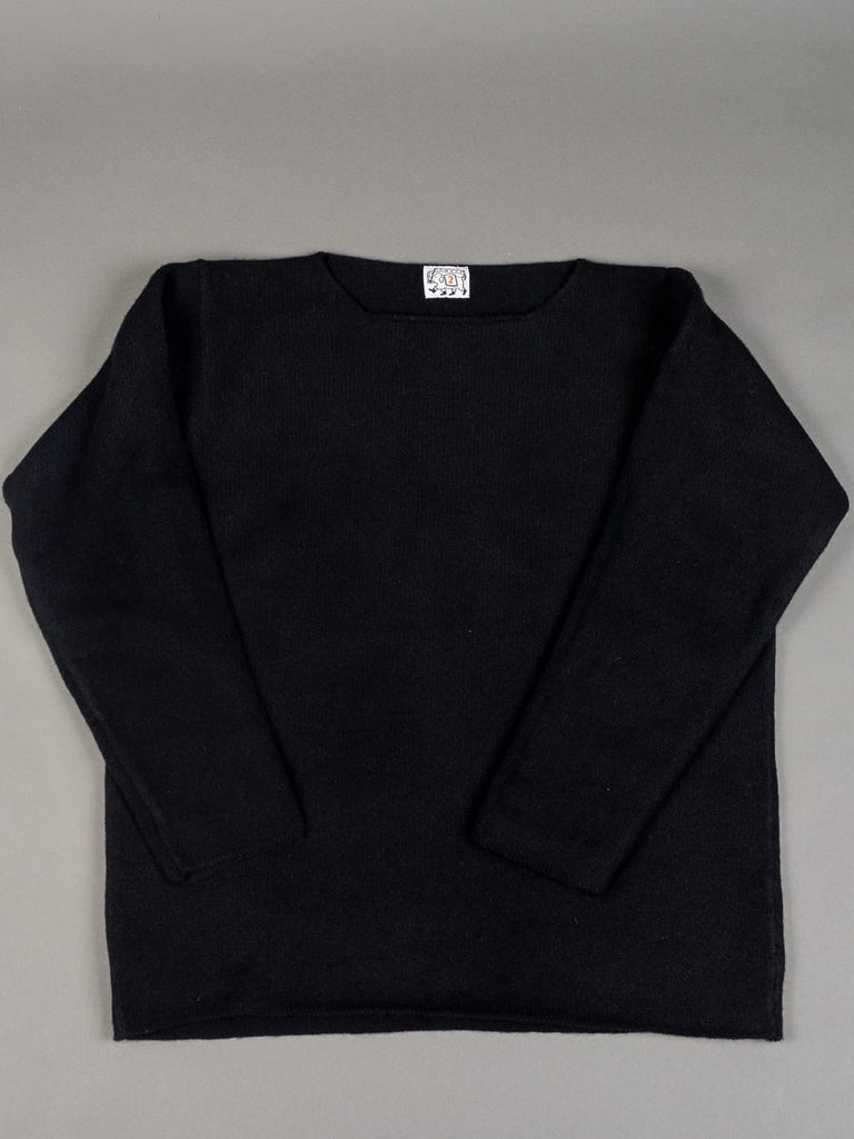 Tender Open Neck Pullover Black Cold Felted Lambswool front