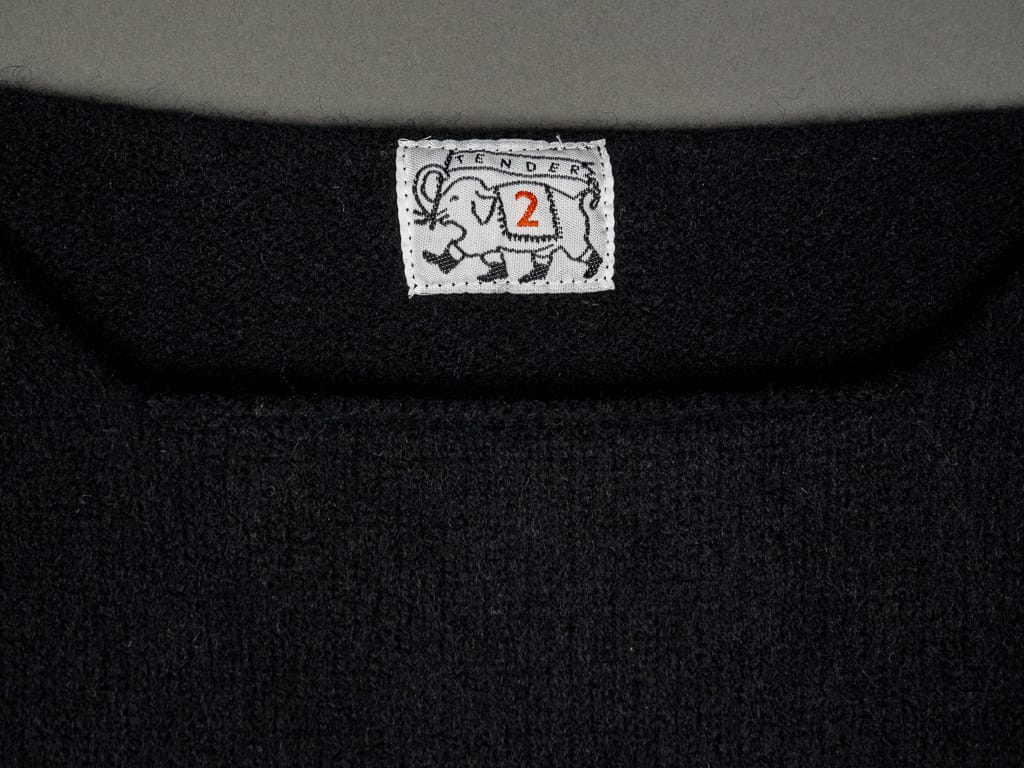 Tender Open Neck Pullover Black Cold Felted Lambswool collar