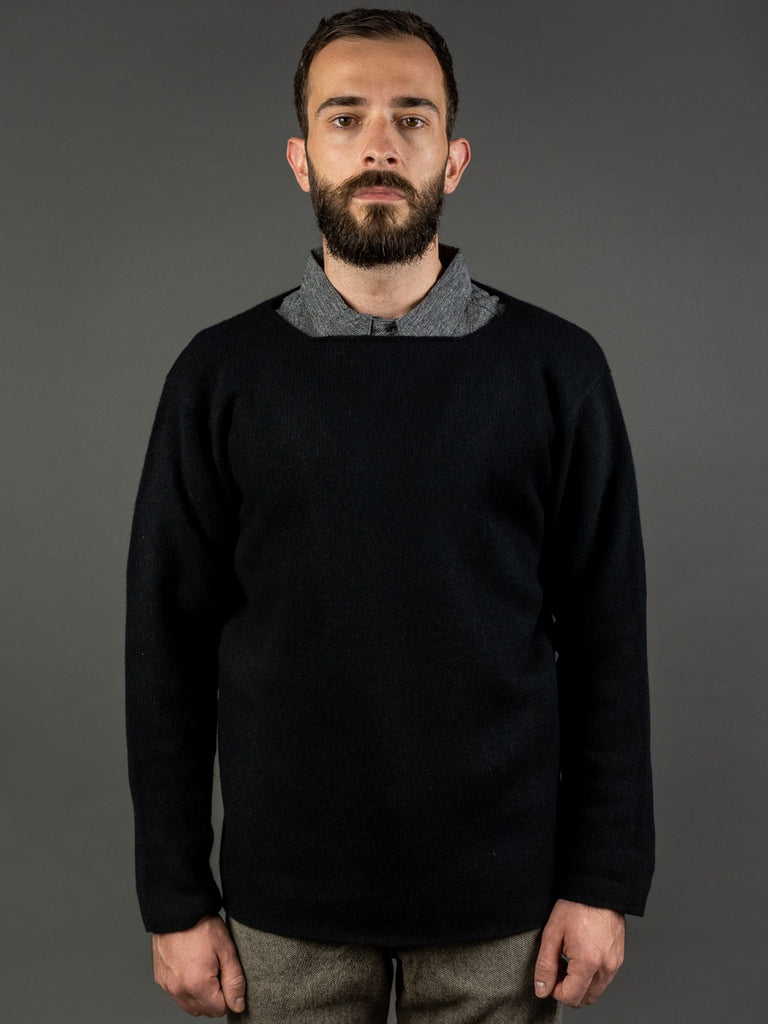Tender Open Neck Pullover Black Cold Felted Lambswool