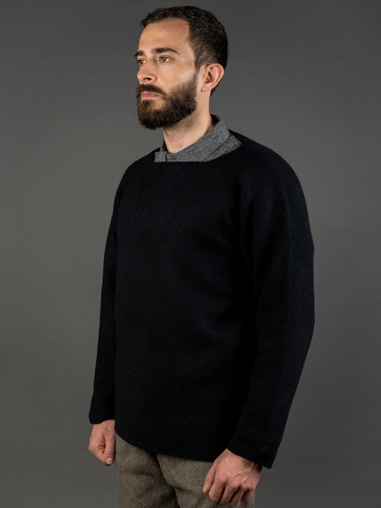 Tender Open Neck Pullover Black Cold Felted Lambswool side