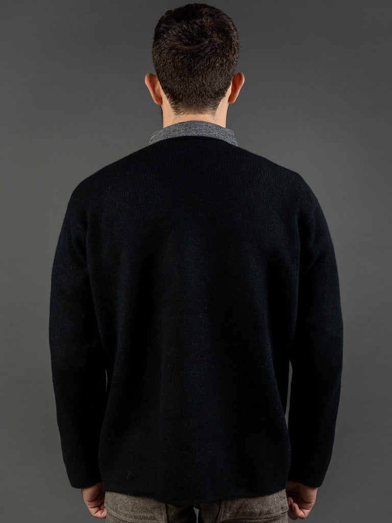 Tender Open Neck Pullover Black Cold Felted Lambswool back