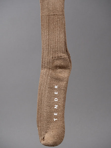 Tender Rib Calf Socks Cotton/Linen Walnut Dyed Brown