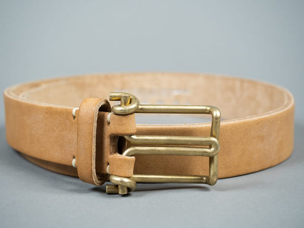 Tender Wire Buckle Belt Natural Tan Oak Bark Leather