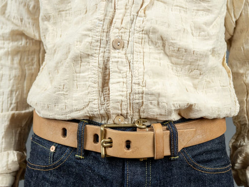 Tender Wire Buckle Belt Natural Tan Oak Bark Leather outfit