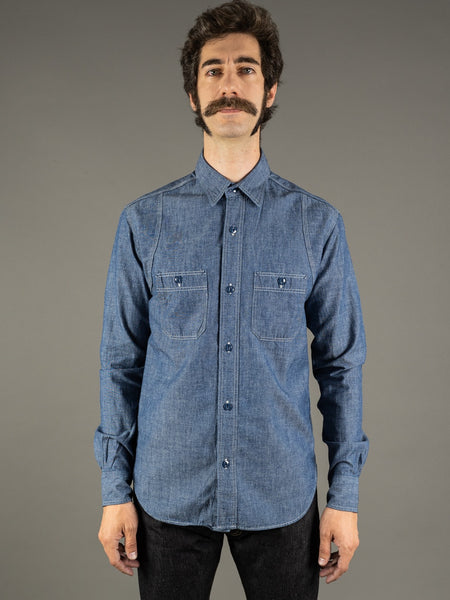 the rite stuff heracles chambray work shirt made by john lofgren