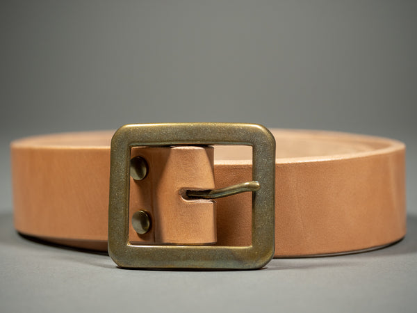 the strike gold belt cowhide leather tan