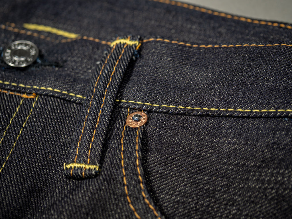 the strike gold 3109 left hand twill raw japanese jeans belt loop