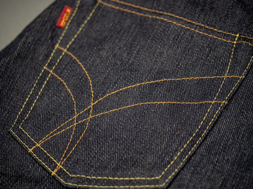 the strike gold 3109 left hand twill raw japanese jeans pocket arcs