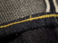 the strike gold 3109 left hand twill raw japanese jeans chainstitching