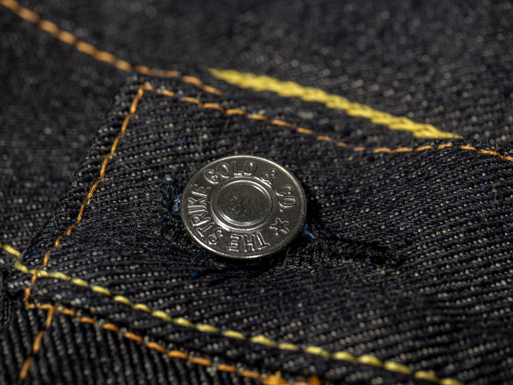 the strike gold 3109 left hand twill raw japanese jeans iron button