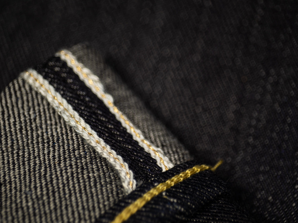 gold selvedge of the strike gold 3109 jeans