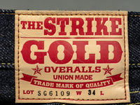the strike gold 6109 slubby jeans japanese denim leather patch