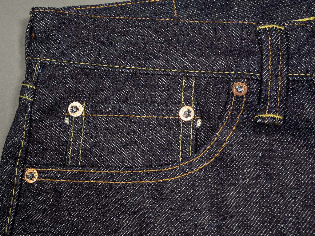 the strike gold 6109 slubby jeans raw japanese denim coin pocket