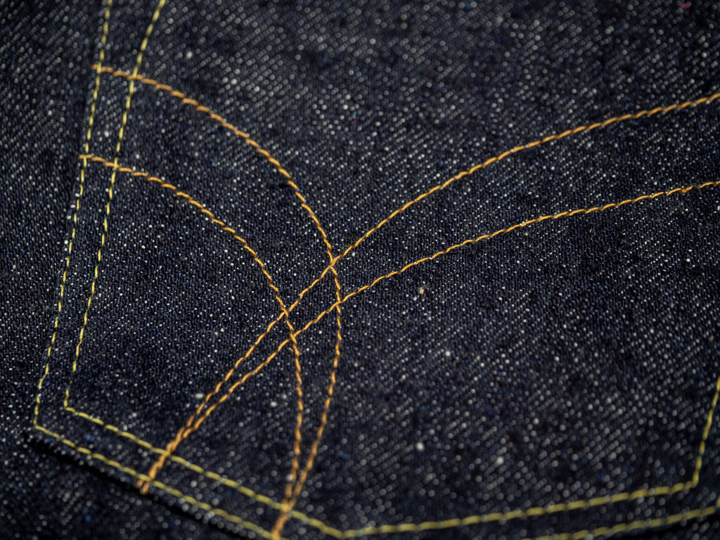 the strike gold 6109 slubby jeans pocket arcs