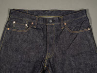 the strike gold 6109 slubby jeans raw japanese denim waist