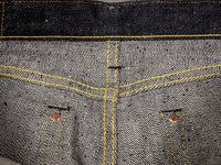 the strike gold 6109 slubby raw japanese jeans interior stitching