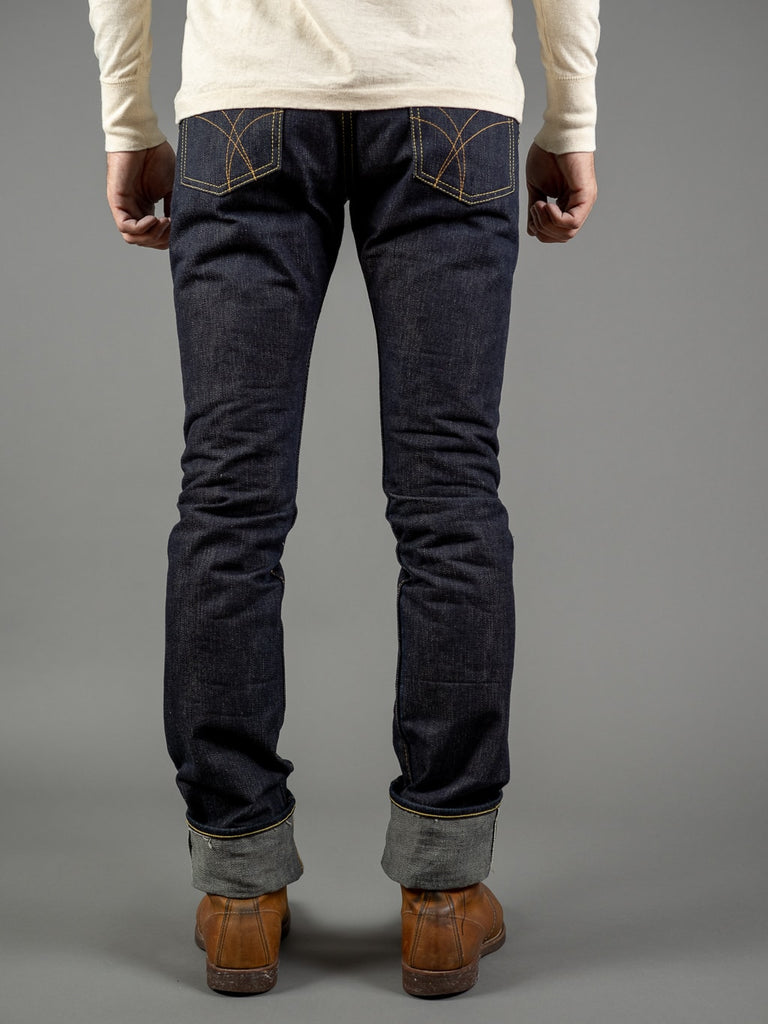 the strike gold 3109left hand twill raw japanese jeans back