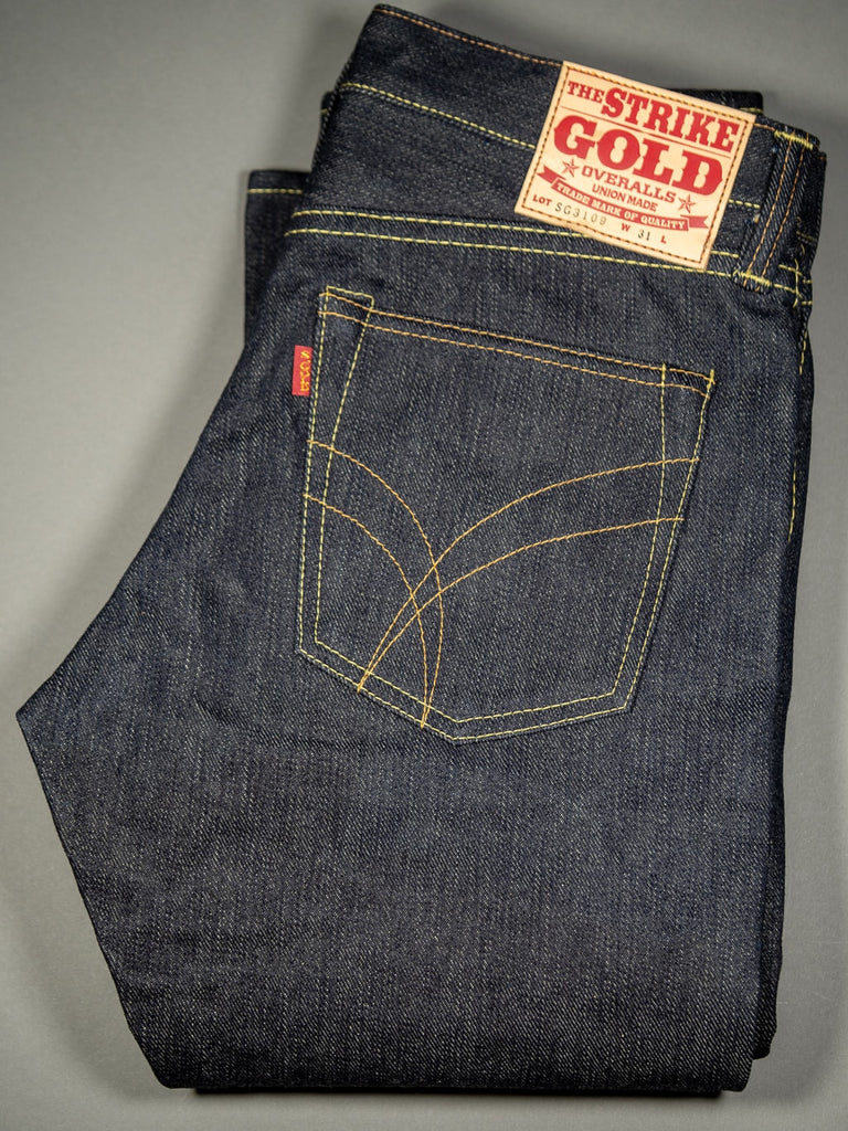 the strike gold 3109 left hand twill raw japanese jeans