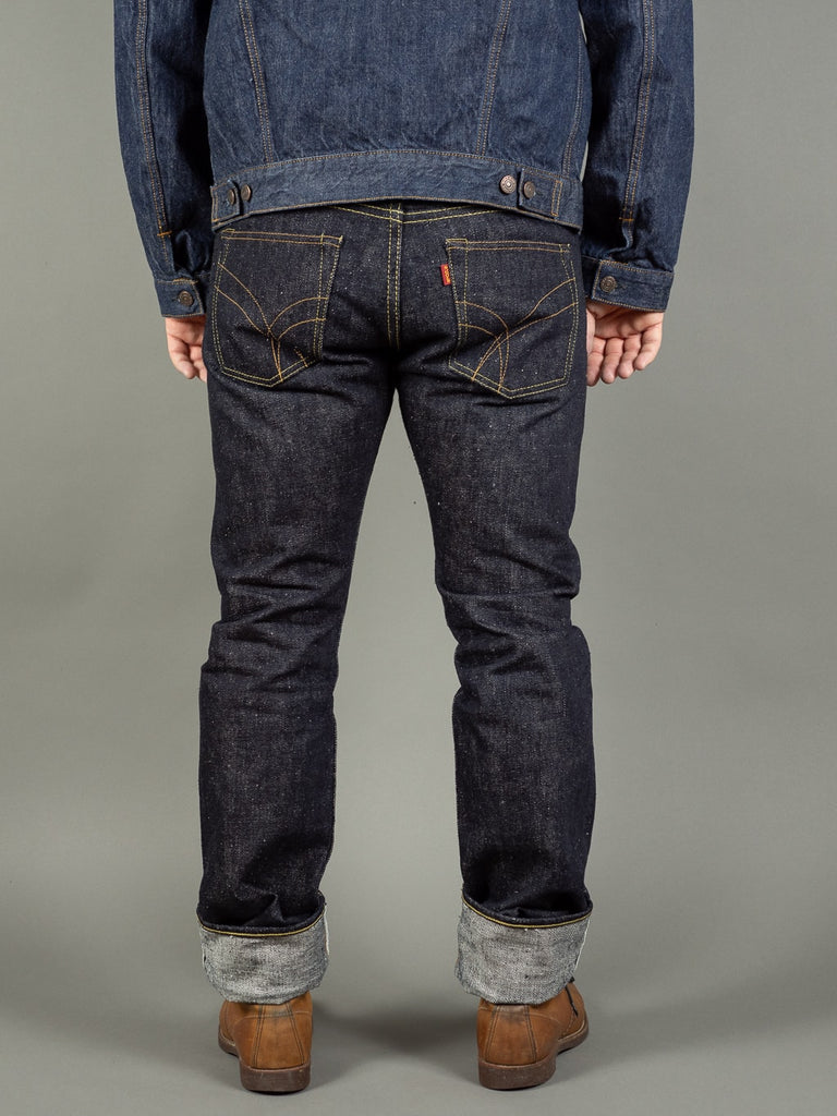 the strike gold 6109 slubby jeans raw japanese denim back
