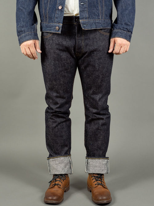 the strike gold 6109 slubby jeans raw japanese denim front