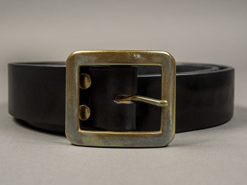 The Strike Gold Leather Belt Black